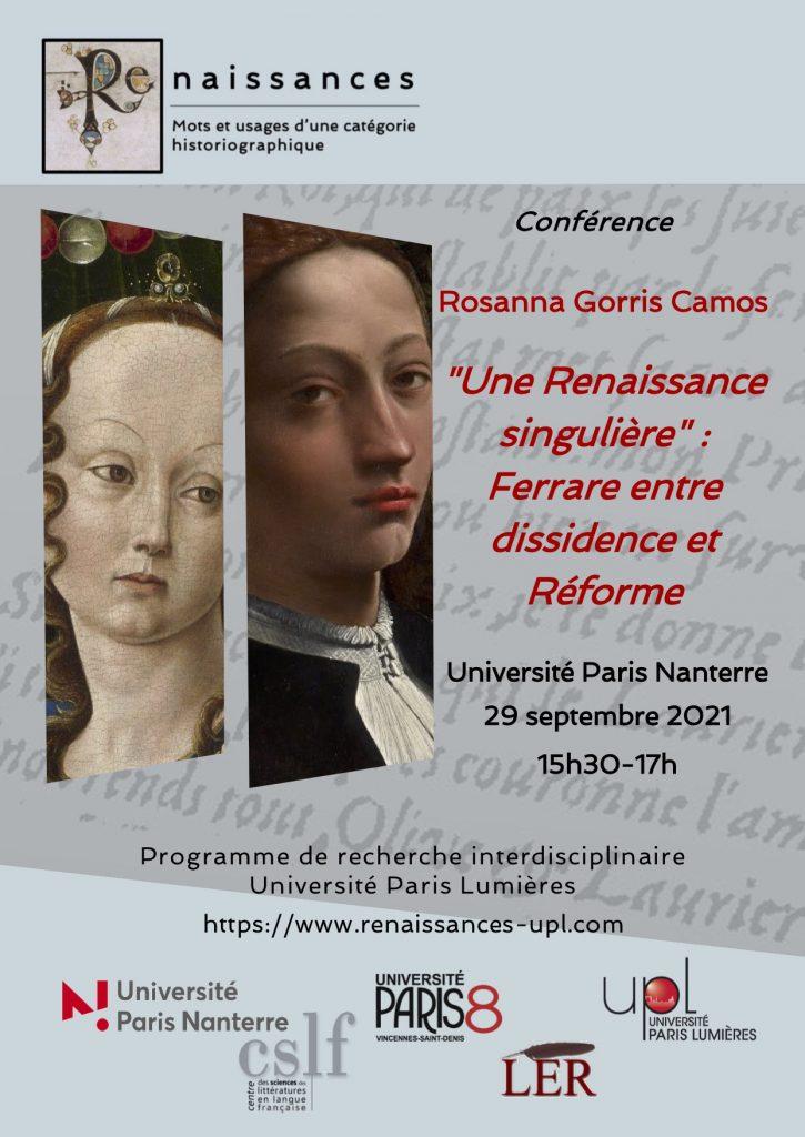 Rosanna Gorris Camos «Une Renaissance singulière» : Ferrare entre dissidence et Réforme